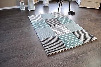 Kurzflor Teppich 160x230 ~ Amazon.de: hochwertiger design teppich relief tf 22 türkis grau weiß