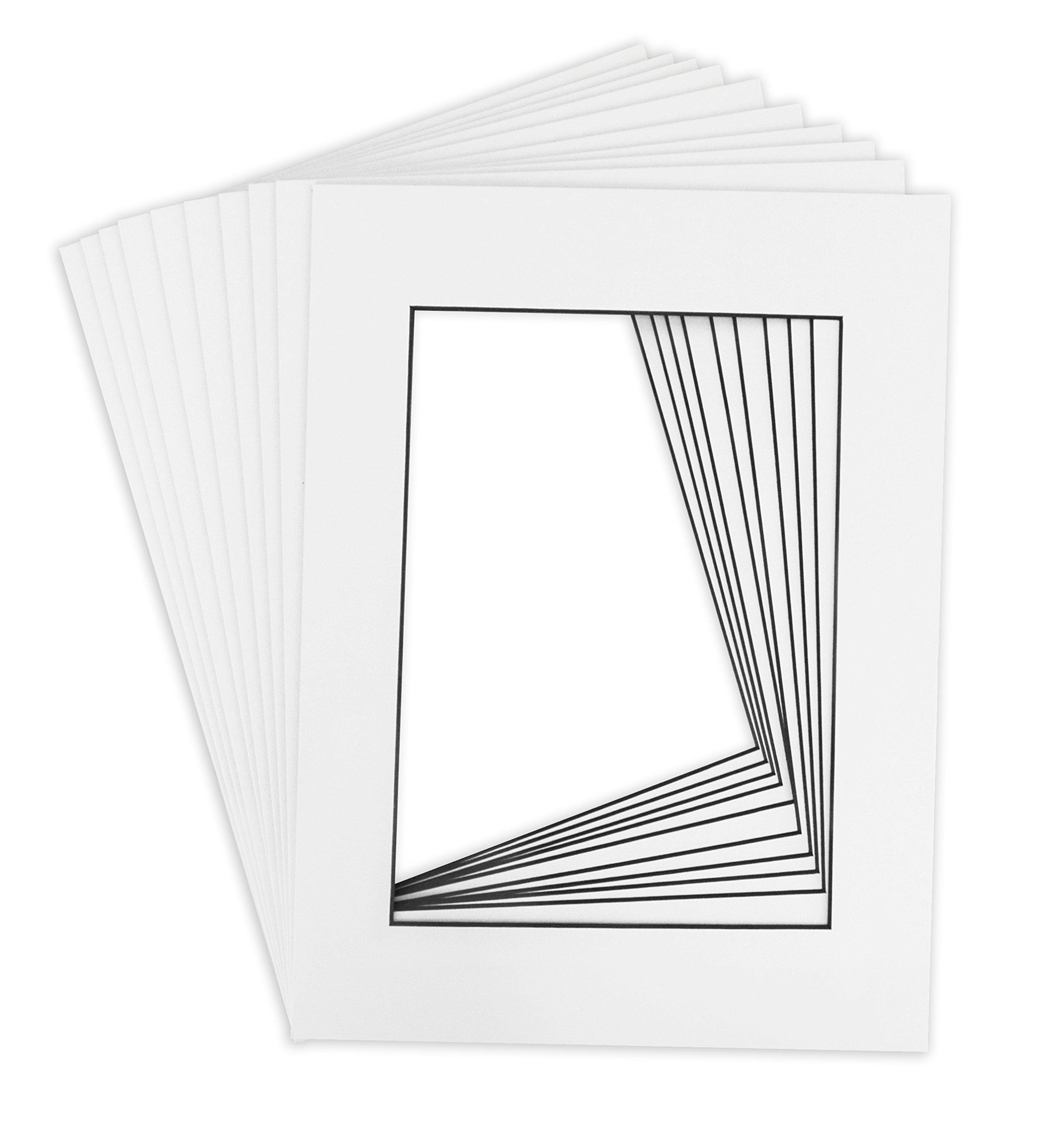 BLACKCORE MAT, 10 of 18x24 White Pre-cut Acid-free for 12x18 +back+bag