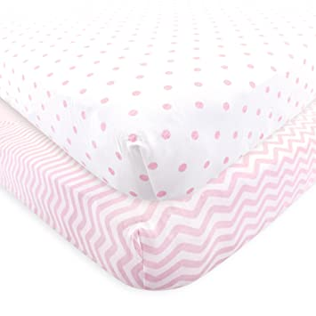 Amazon.com : Luvable Friends Fitted Knit Crib Sheet, Pink Chevron and Dots, One Size : Baby