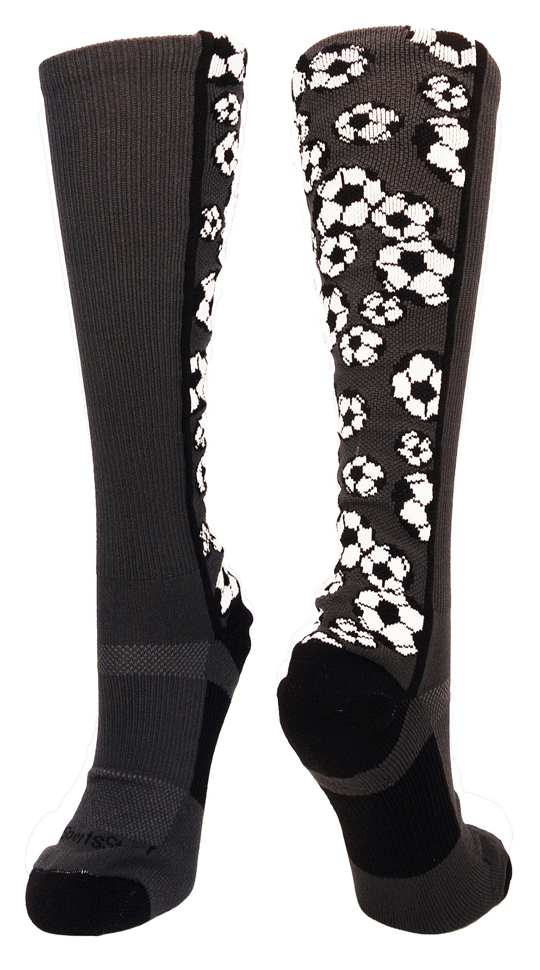 MadSportsStuff Crazy Soccer Socks with Soccer Balls Over The Calf (Graphite/Black, Large) by MadSportsStuff