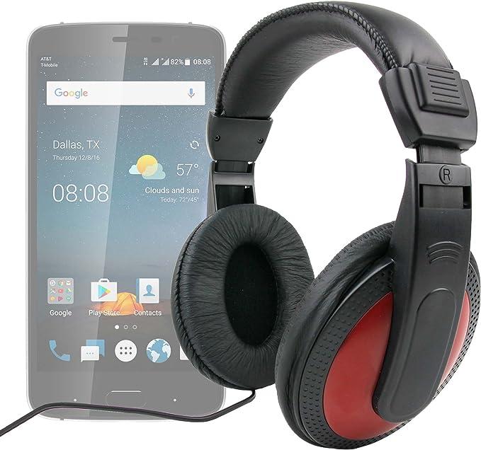 DURAGADGET Auriculares De Diadema En Negro Y Rojo para Smartphone ...