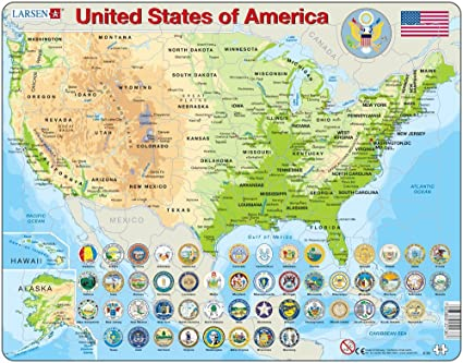Map Of America Jigsaw.Larsen Map Of The United States Of America 90 Piece Kids Jigsaw Puzzle