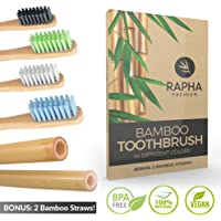 Bamboo Toothbrushes Family Pack of 4, Biodegradable Bamboo Toothbrush, Zero Plastic Packaging, 4 Toothbrushes, 2 Straws