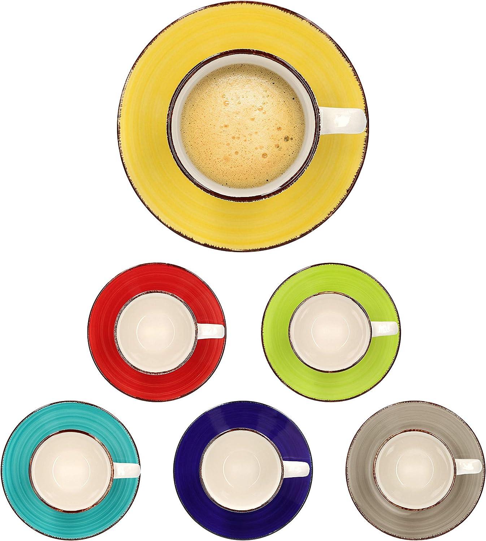 cake//dessert plate I abstract design I hand painted saucer 18-piece coffee set Malaga I coffee /& tea set for 6 people I coffee cups