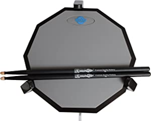 Tromme Drum Practice Pad & Carrying Case - 12 Inches - Silicone - Wooden Base with Real Drum Feel - Practice Quietly - Sticks and Stand NOT INCLUDED (Gray)