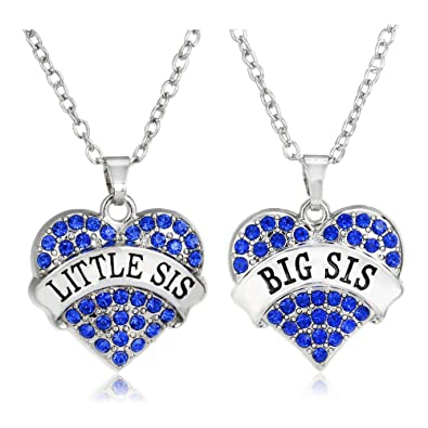 BESPMOSP Big Sis Little Sis Matching Heart Pendant Necklace Sister Best Friend Family Gifts 0cr6P