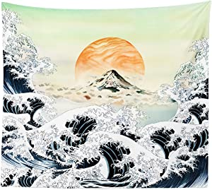 "iLiveX Tapestry, Original Design Hand Drawing Art Print Tapestry Wall Hanging, Ocean Wave Sunset Japanese Tapestries (51.2""x59.1"")"