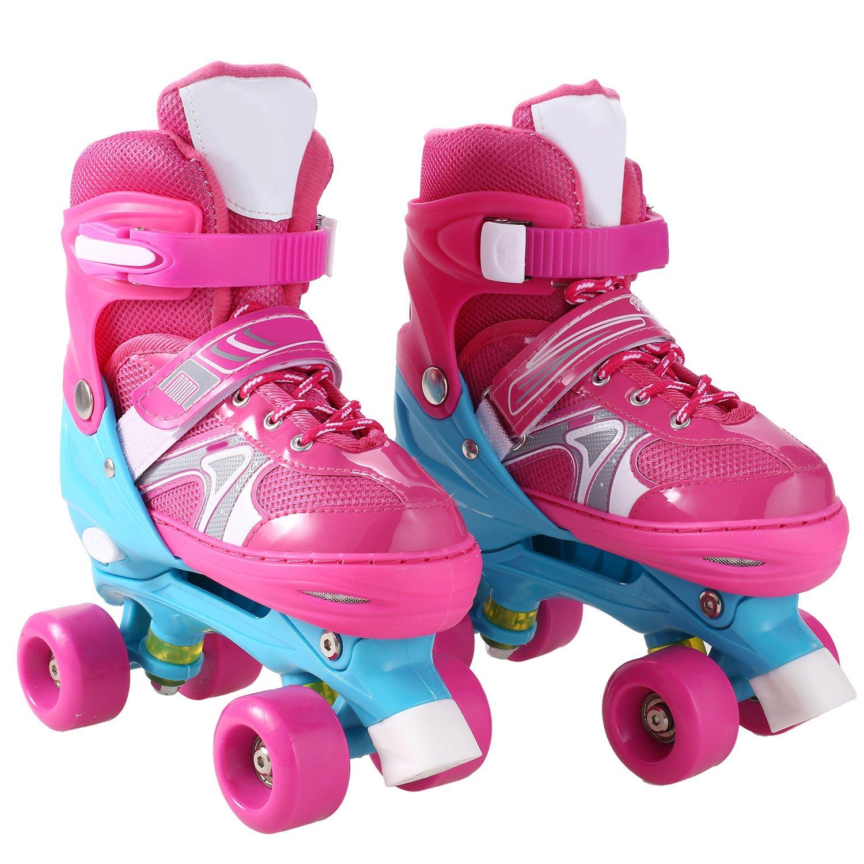 2-in-1 Quad Skate Adjustable Roller Skates for Girls & Boys Beginner Kids Rollerblades Fun Illuminating Roller Skates (Pink, Medium)