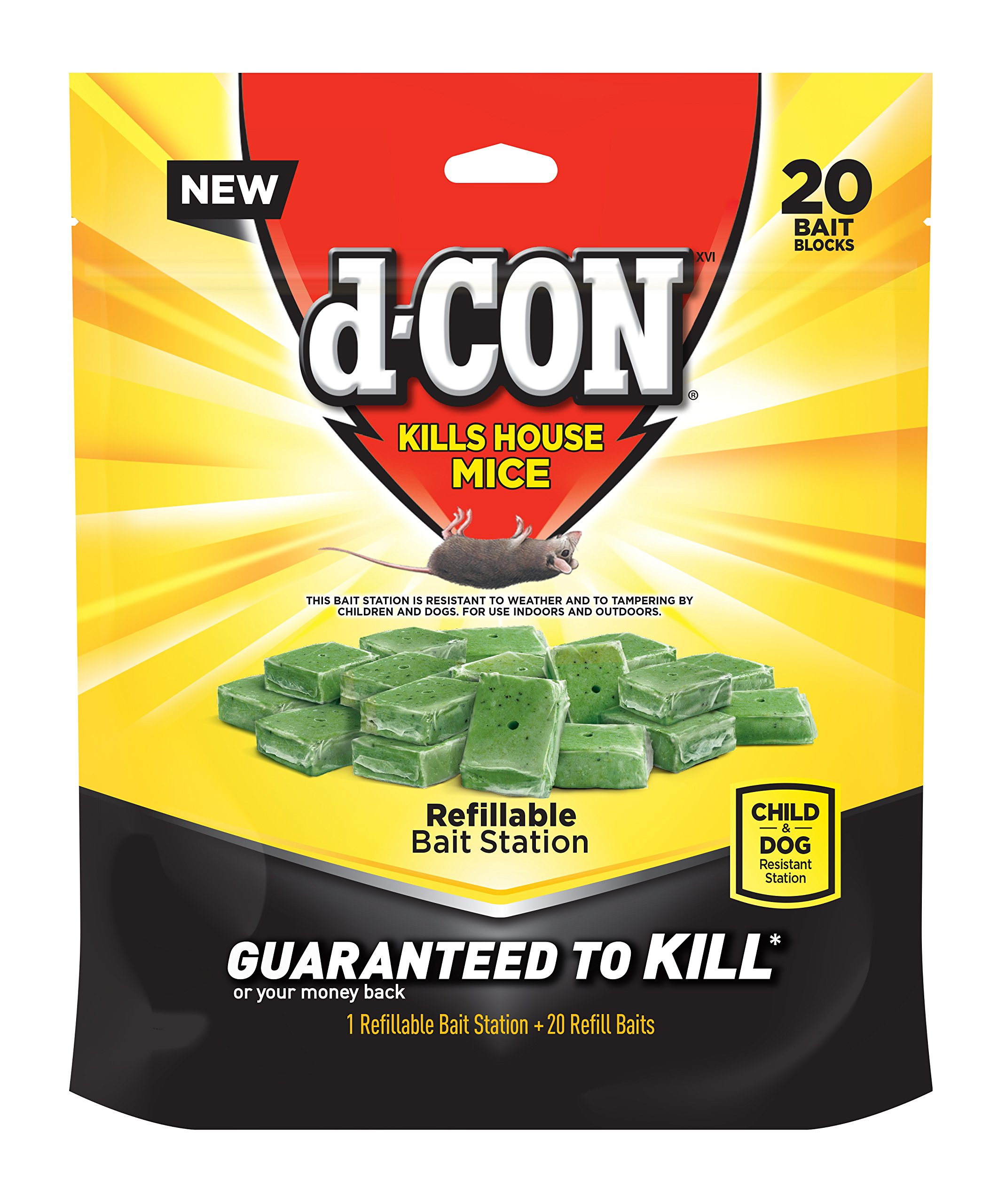 d-CON Refillable Corner Fit Mouse Poison Bait Station, 1 Trap + 20 Bait Refills by D-Con