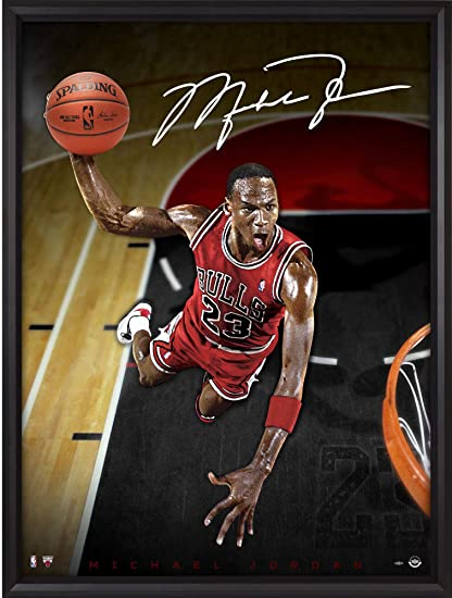 02d3161f80c Michael Jordan Chicago Bulls Framed Autographed 44 quot  x 60 quot  Cleared  for Departure Breaking Through
