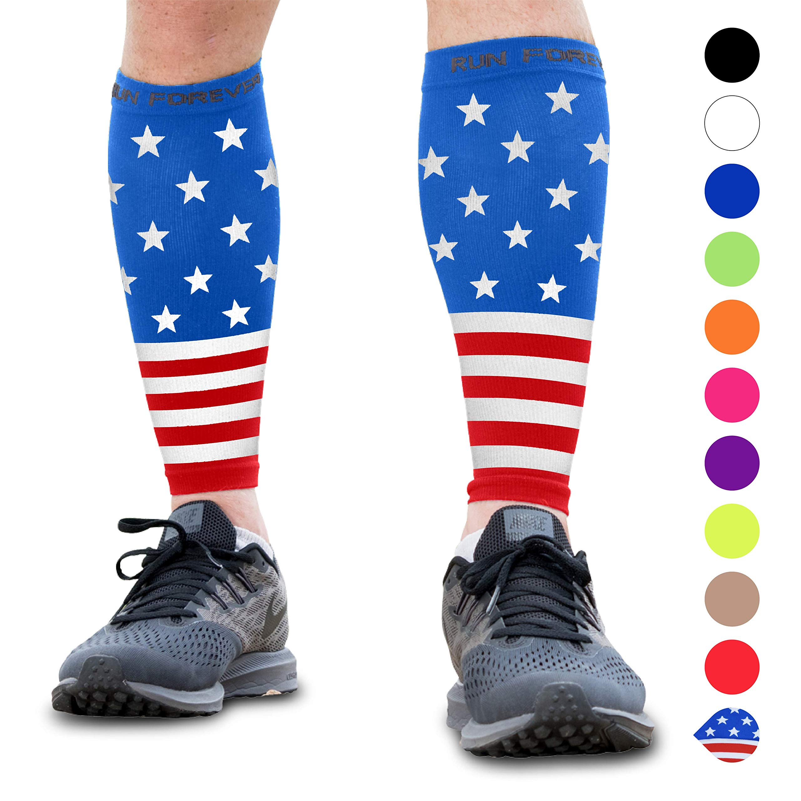 Calf Compression Sleeve - Leg Compression Socks for Shin Splint, Calf Pain Relief - Men, Women, and Runners - Calf Guard for Running, Cycling, Maternity, Travel, Nurses (American Flag, XL) by Run Forever Sports