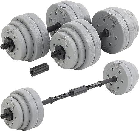 Dtx fitness bilanciere regolabile a bilanciere da 30 kg con manubri bilancieri e pesi - argento B01N76LKBY