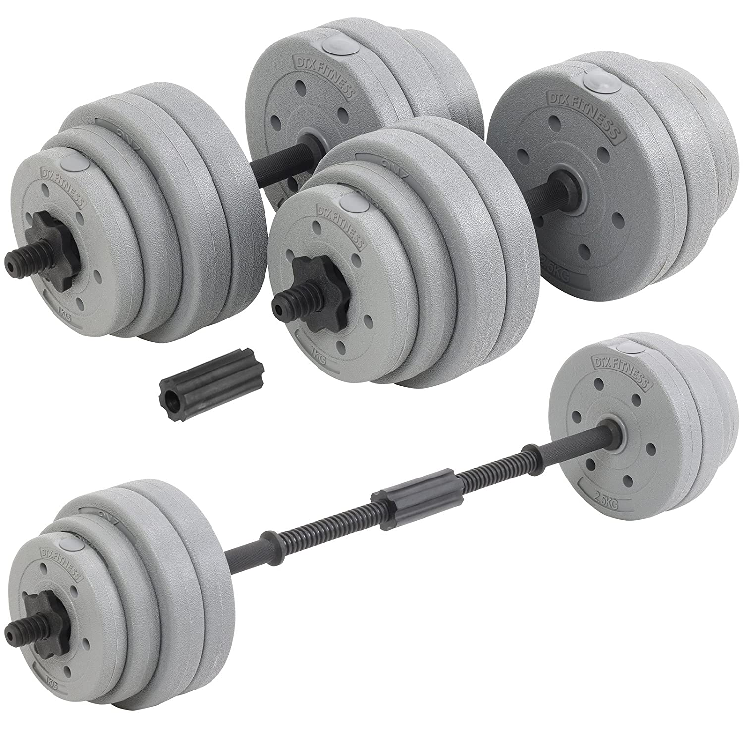 Dtx Fitness 30 Kg Adjustable Weight Lifting Dumbbell Barbell Bar & Weights Set   Silver by Amazon