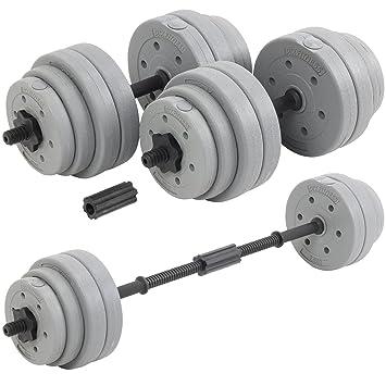 Juego de discos y barras para levantamiento de pesas regulable hasta 30 kg DTX Fitness - Plateado: Amazon.es: Deportes y aire libre