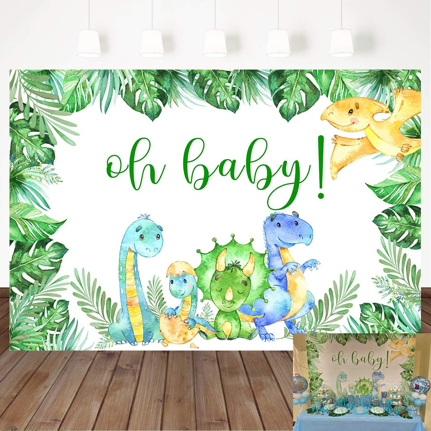 Mocsicka Dinosaur Backdrop Safari Jungle Wild Green Palm Leaves Dinosaur Party Photography Background 7×5ft Vinyl Oh Baby Birthday Party Decoration Backdrops