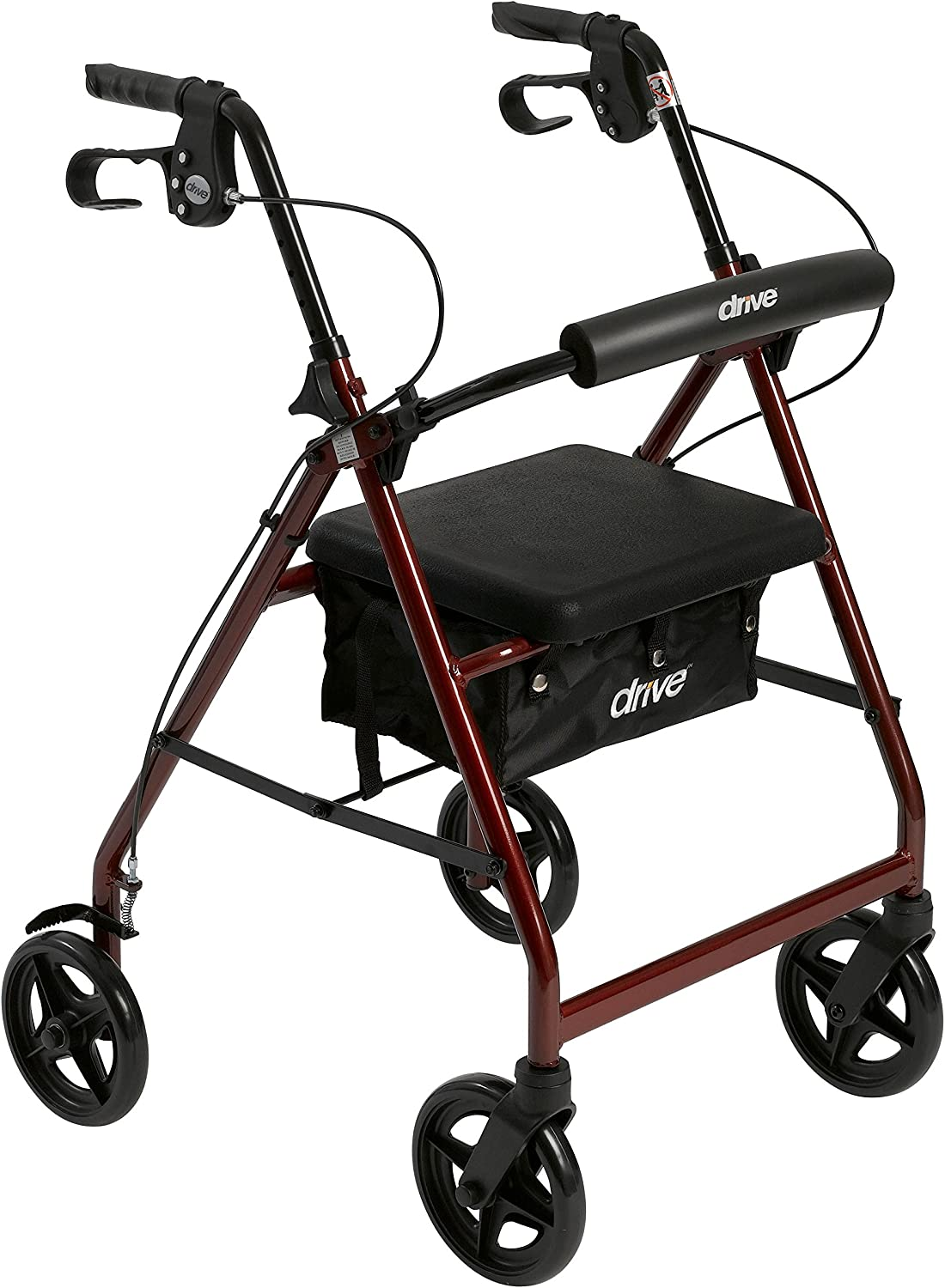 Drive Medical Aluminum Rollator Fold Up and Removable Back Support, Padded Seat with 7.5-Inch Casters, Red 81MbJW2EPoL