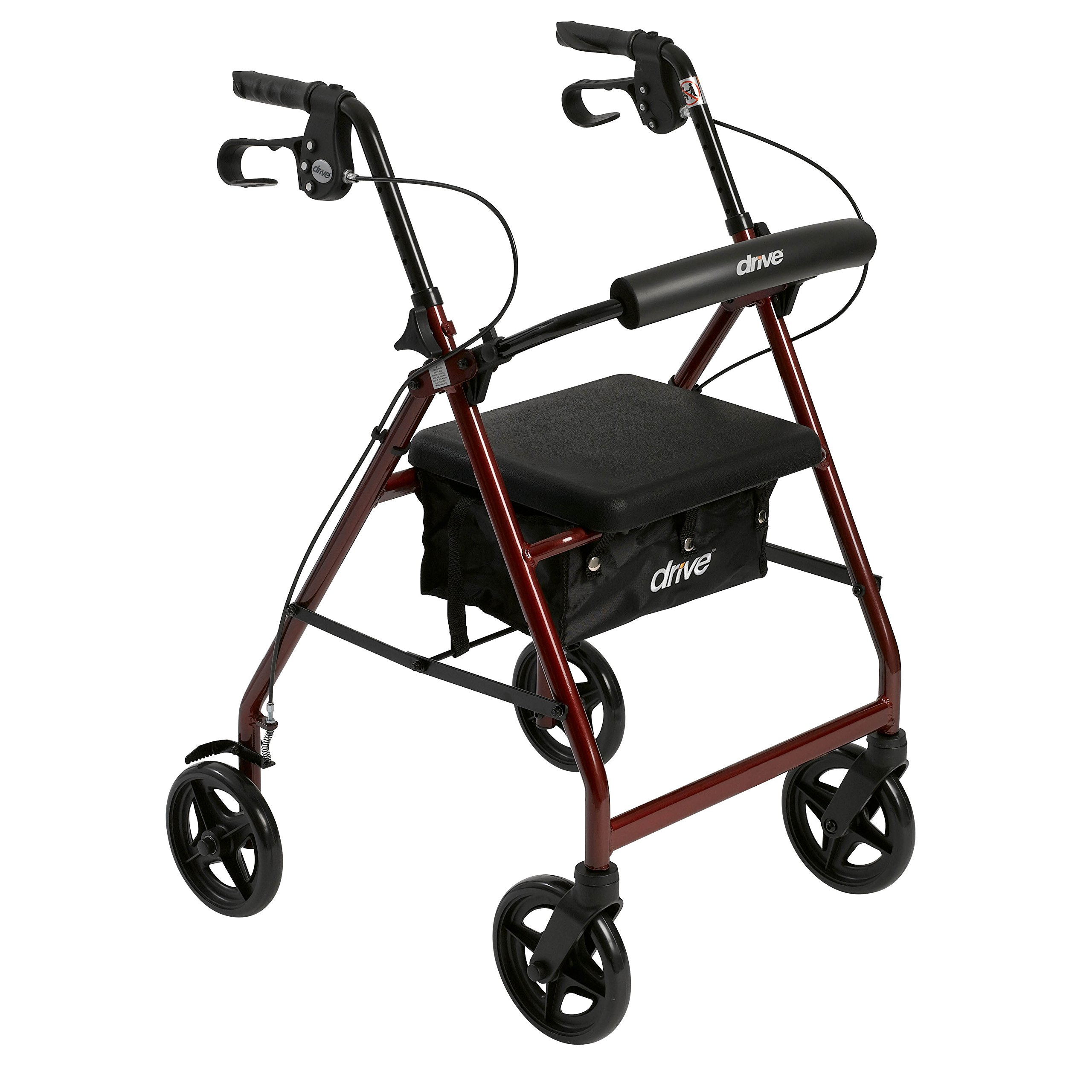 Drive Medical Aluminum Rollator Fold Up and Removable Back Support, Padded Seat with 7.5-Inch Casters, Red by Drive Medical