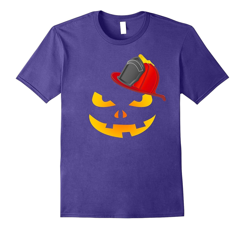 Firefighter Lantern Pumpkin Face Halloween Funny T-Shirt-T-Shirt