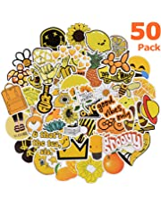 Willingood 50 Pack Cute Vsco Stickers, Water Bottle Stickers, Girl Yellow Stickers, Trendy Stickers for Laptop, Notebook, Skateboard, Luggage, Bumper, Guitar, Bike - Stickers Pack For Teens