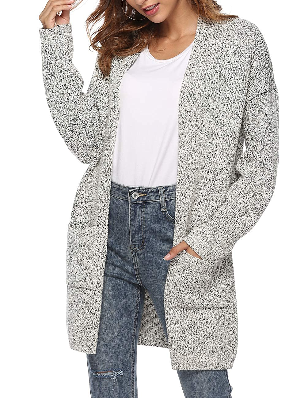 7cf1280739ac0f Amazon.com  Ray JrMALL Women s Long Sleeve Open Front Cardigans Mid Length  Loose Knit Cardigan Sweater Grey XX Large  Clothing