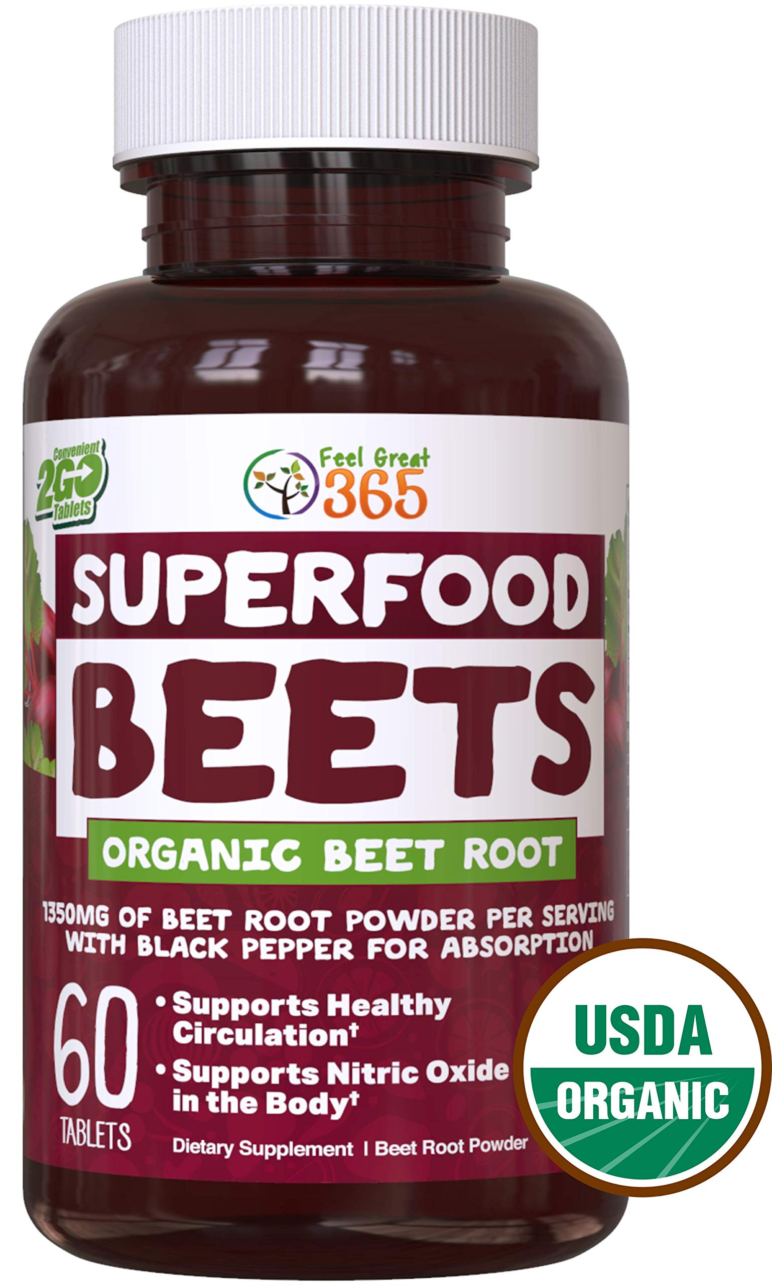 USDA Organic Superfood Beet Root Powder by Feel Great 365 | Beetroot Nitric Oxide Supplement with Natural Nitrates for Increased Natural Energy* | Non-GMO and Vegetarian Organic Circulation Tablets* by Feel Great 365