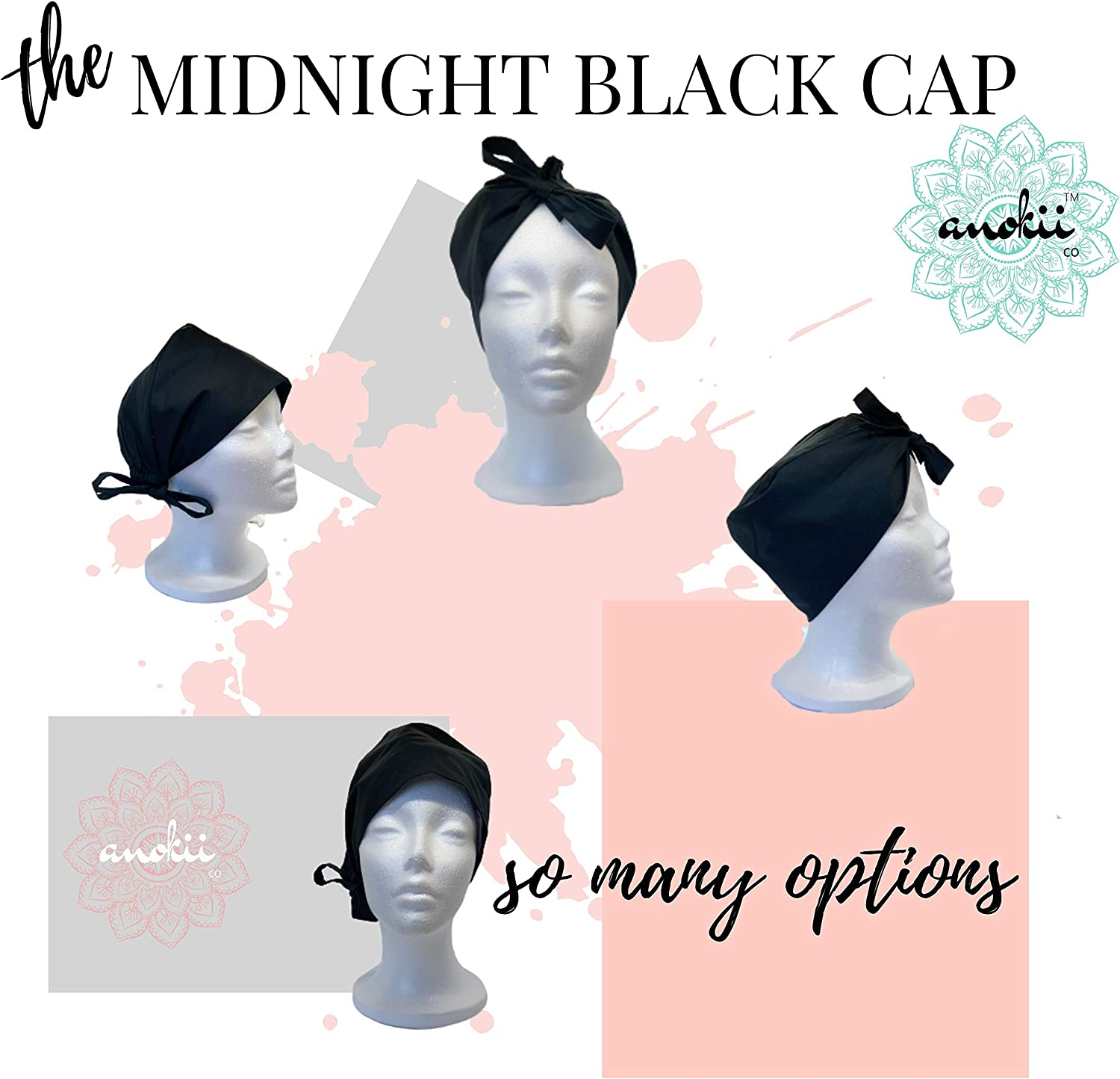 Head Covers by ANOKII CO One Size Adjustable Hat with Sweatband for Men and Women Black Working Skull Cap