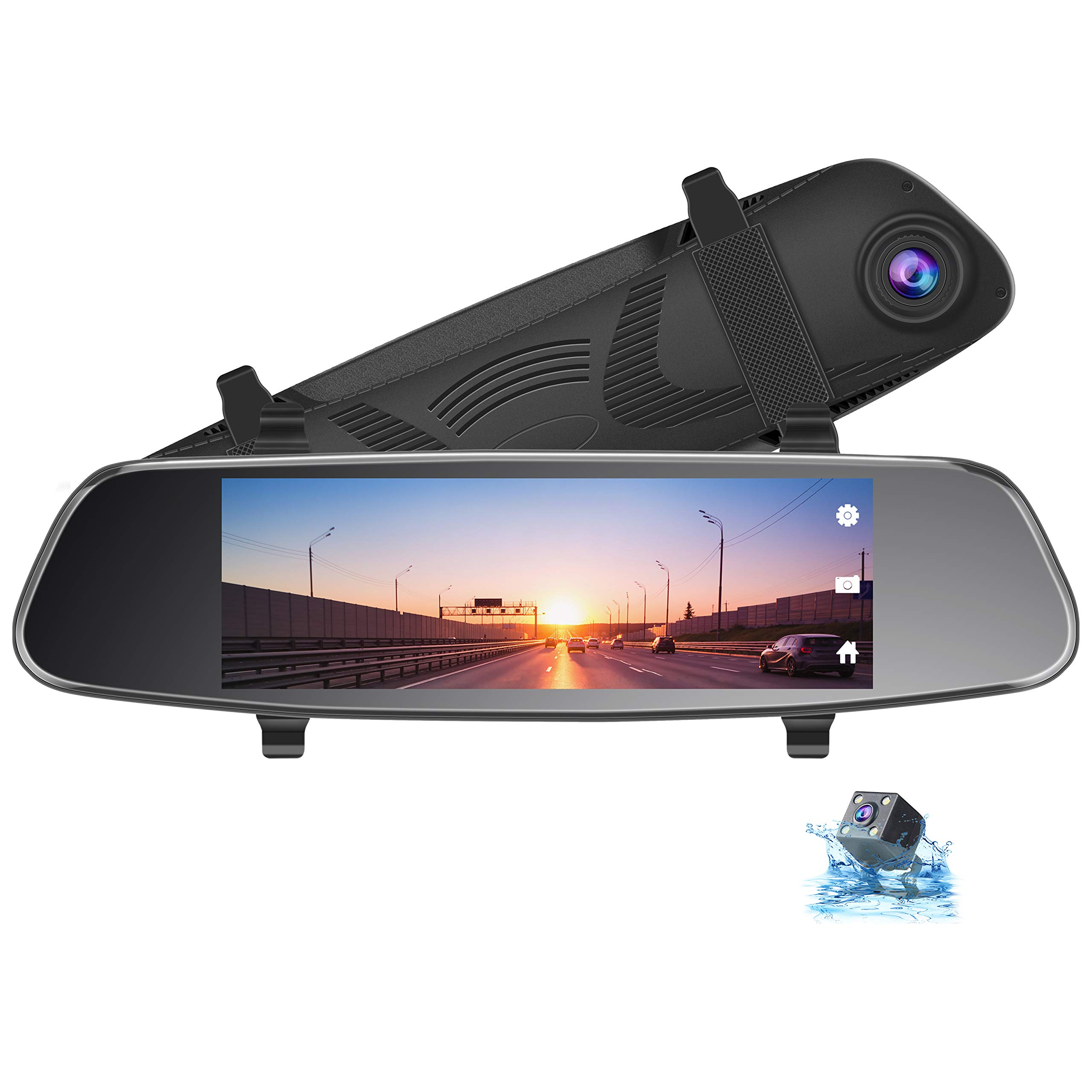 TOGUARD 8'' Mirror Dash Cam, Dual Lens Touch Screen Rear View Mirror Camera 1080P Front and 720P Backup Camera with G-Sensor Parking Monitor