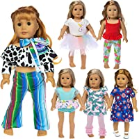 ZITA ELEMENT 6 Sets Fashion 18 Inch Doll Clothes Dress Outfits for American Doll Girl Doll Clothes and Accessories 6 sets ZITA ELEMENT