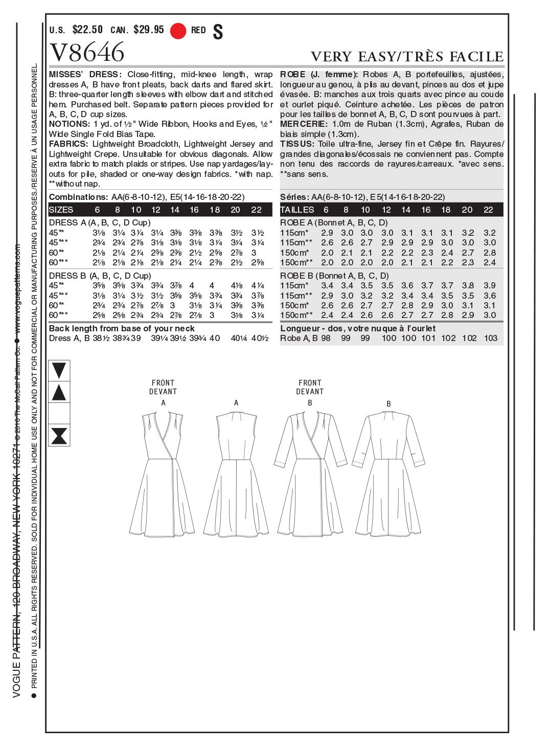Vogue Patterns V8646 - Patrones de costura para vestidos de mujer ...