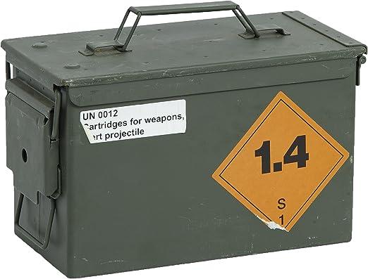 HMF 70011 Caisse de Munitions 30 x 19 x 15,5 cm vert Boîte à Munitions US Army Box en Metal Bo/îte /à Munitions