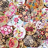 "Crystallove Bulk 2 Holes 30mm Flower Buttons Mixed for Sewing Scrapbooking and DIY Craft (1.2"" 30pcs)"