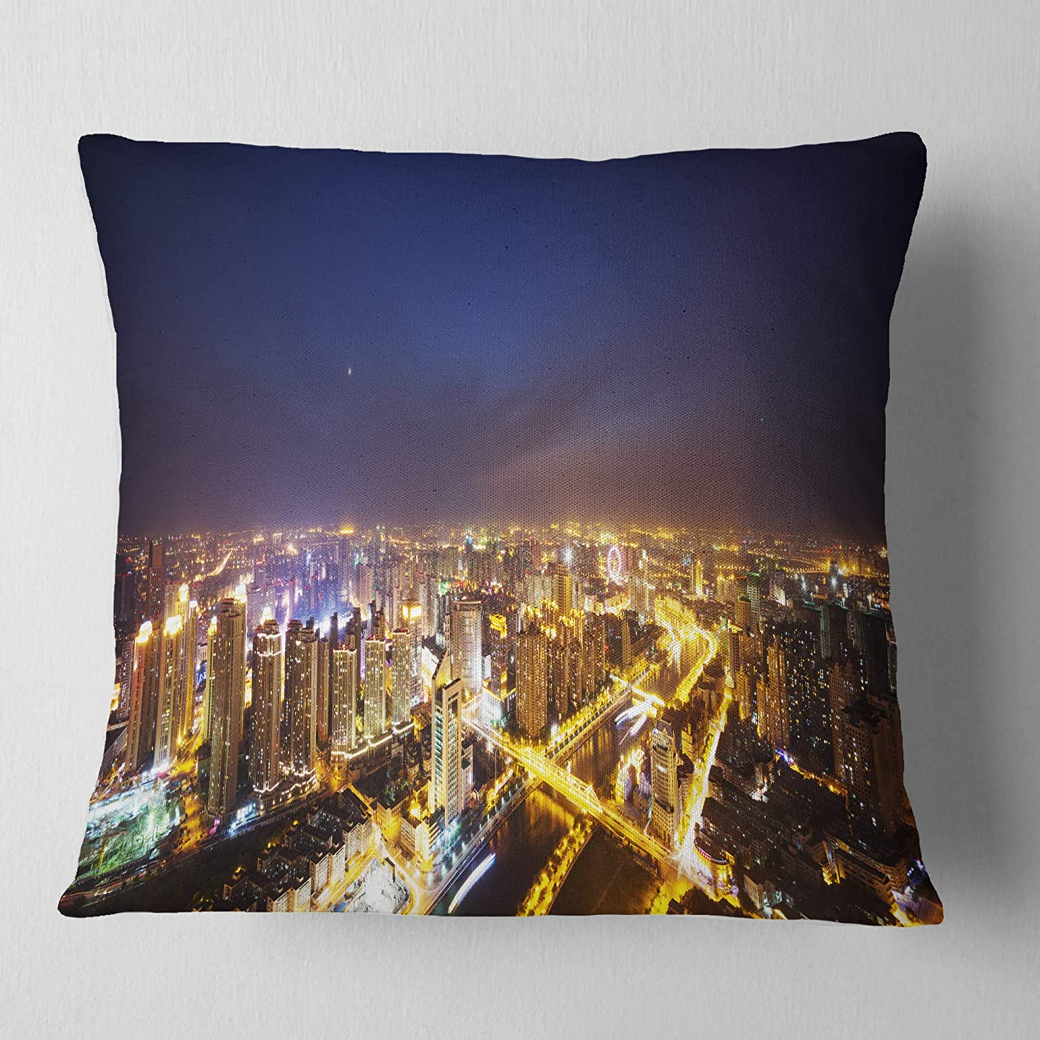 in Designart CU10997-26-26 Downtown Nighttime Panorama Cityscape Cushion Cover for Living Room x 26 in Sofa Throw Pillow 26 in Insert Printed On Both Side