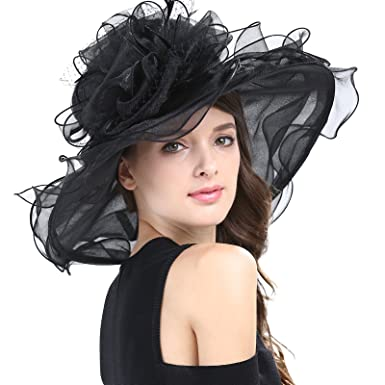 3d8c14180627c6 Janey&Rubbins Women's Feathers Floral Fascinating Kentucky Church Wedding  Party Floppy Hat ...