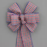 Patriotic Check Wire Edge Bow - available in 2 sizes