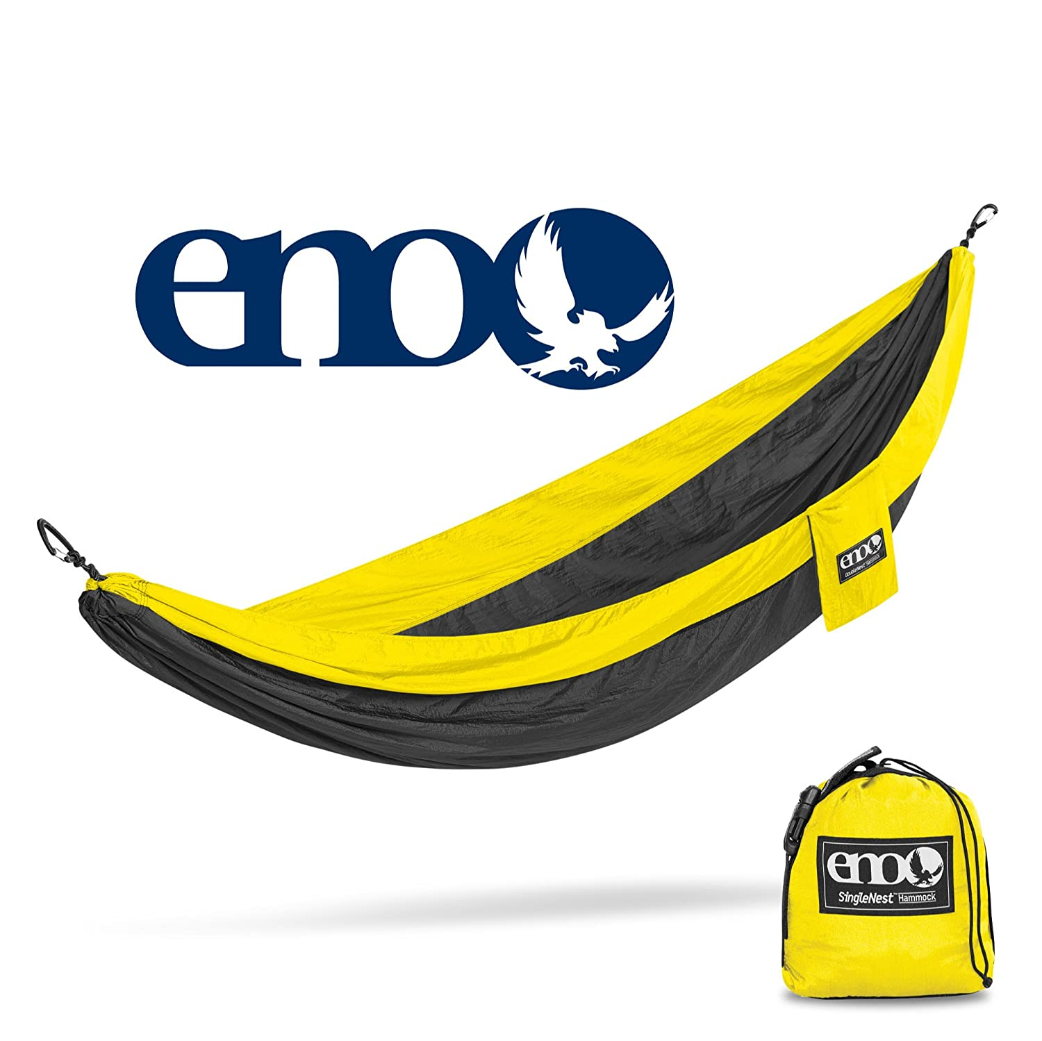 Eagles Nest Outfitters ENO SingleNest Hammock, Portable Hammock for One, Black Yellow