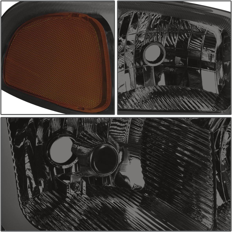 DNA Motoring Black smoked amber HL-LB-SIERRA99-BK-SM-AM 4PCs LED DRL Strip Headlight+Bumper Lamp 99-07 GMC Sierra//Yukon