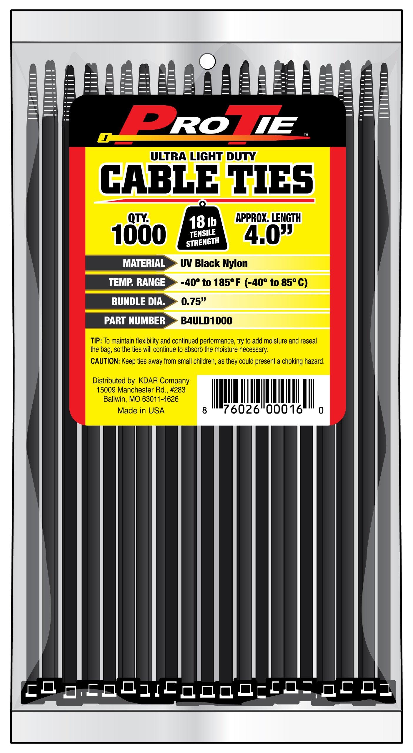 Pro Tie B4ULD1000 4-Inch Ultra Light Duty Standard Cable Tie, UV Black Nylon, 1000-Pack by Pro Tie