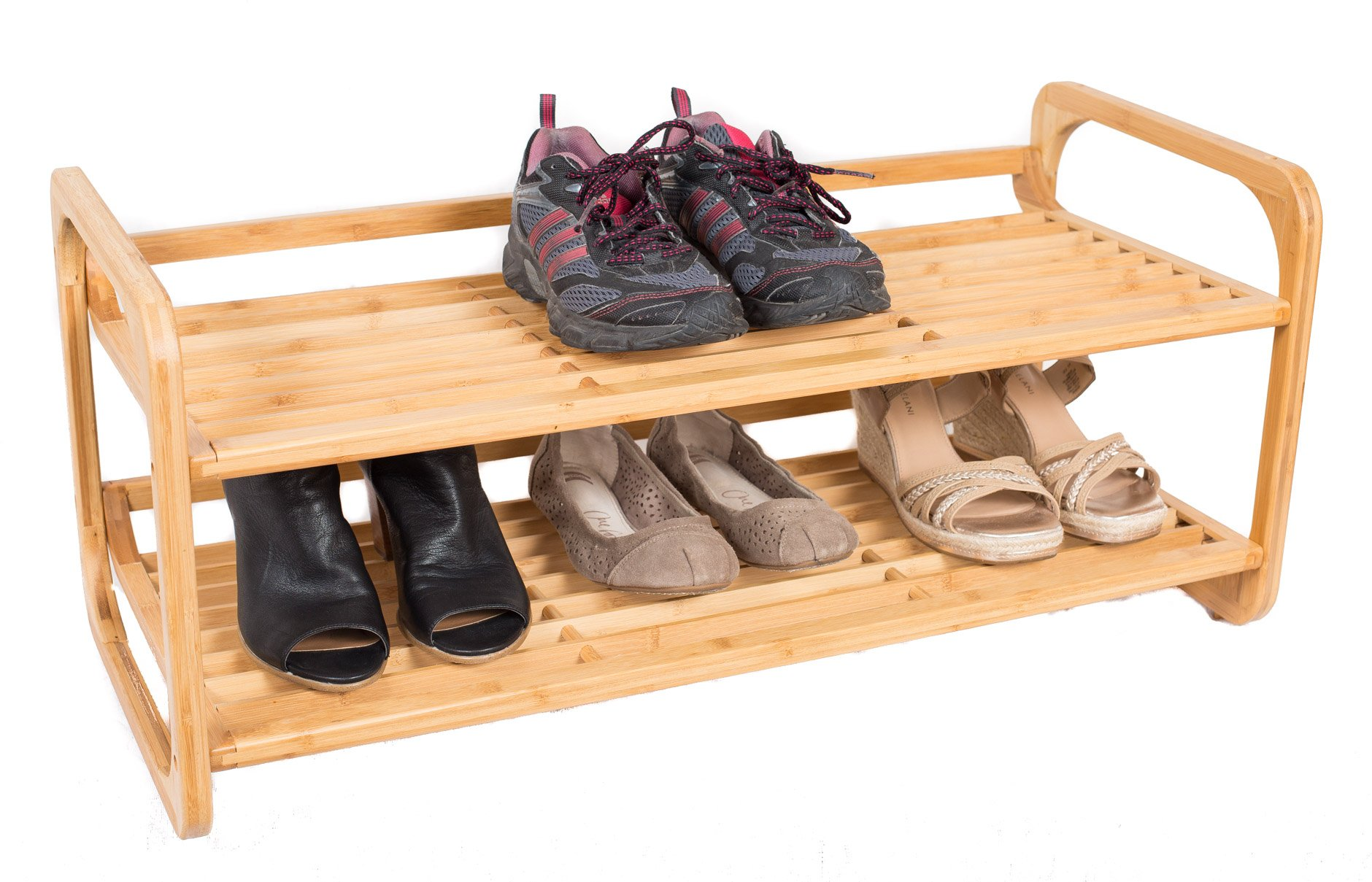 BirdRock Home 2-Tier Bamboo Shoe Rack | Environmentally Friendly | Fits 6-8 Shoes