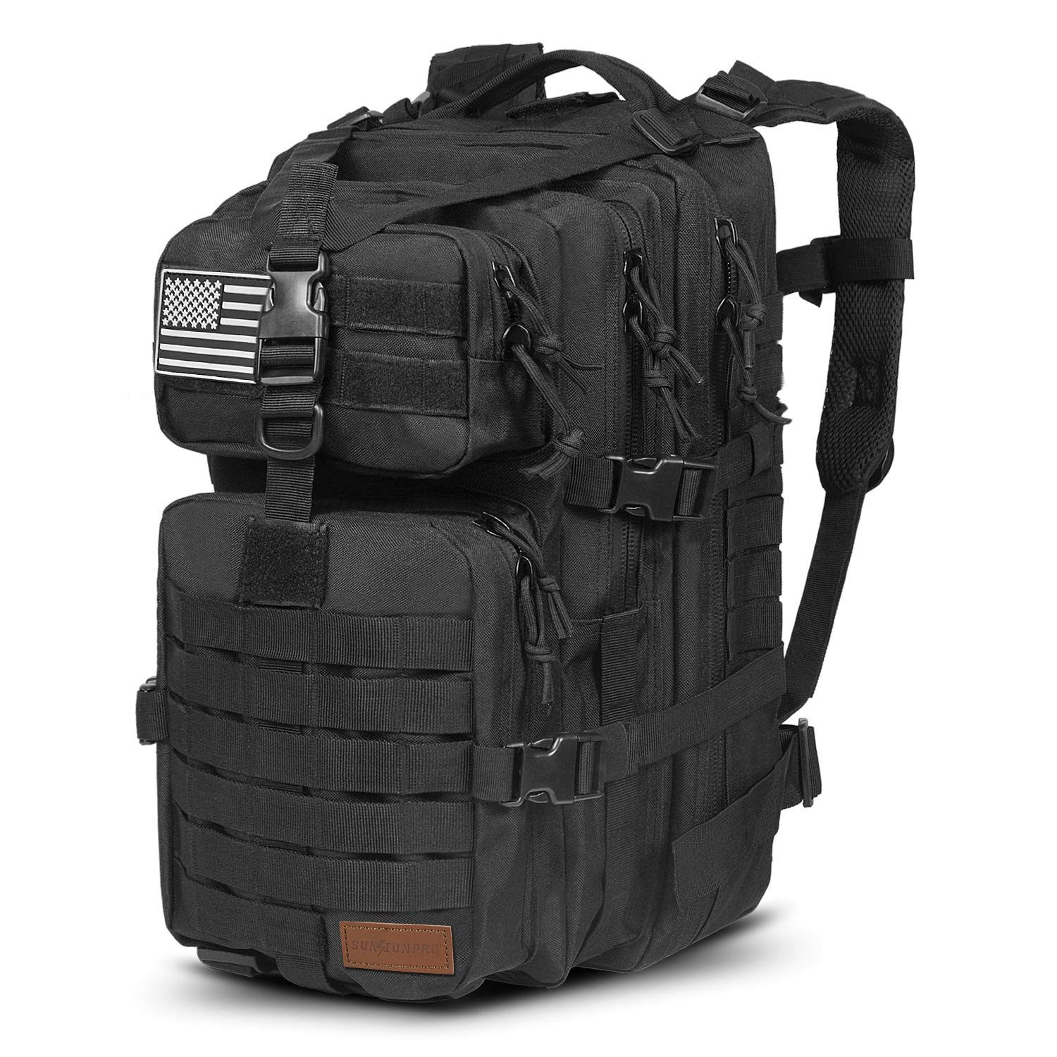 SunsionPro MTB-231 Military Tactical Backpack Large Army 3 Day Assault Pack Molle Bag Travel Rucksacks for Outdoor Hiking Camping Trekking Hunting, 43L (Black)