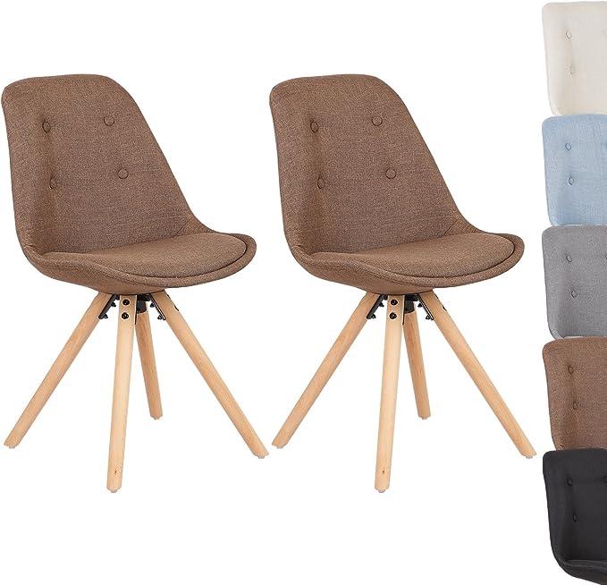 WOLTU/® 4 X Chaises de Salle /à Manger Fait de Lin Assise et Bois Pied,Multicolore BH52mf-4
