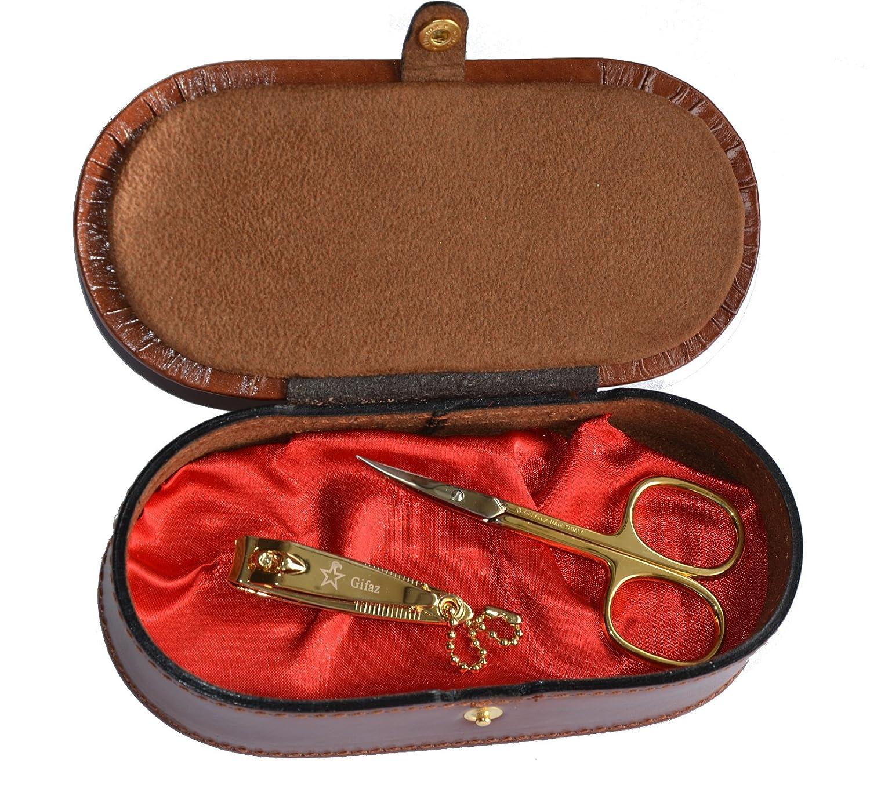 Gifaz Forbici per pelle e tagliaunghie per manicure finitura dorata Made in Italy in cofanetto di pelle portagioie