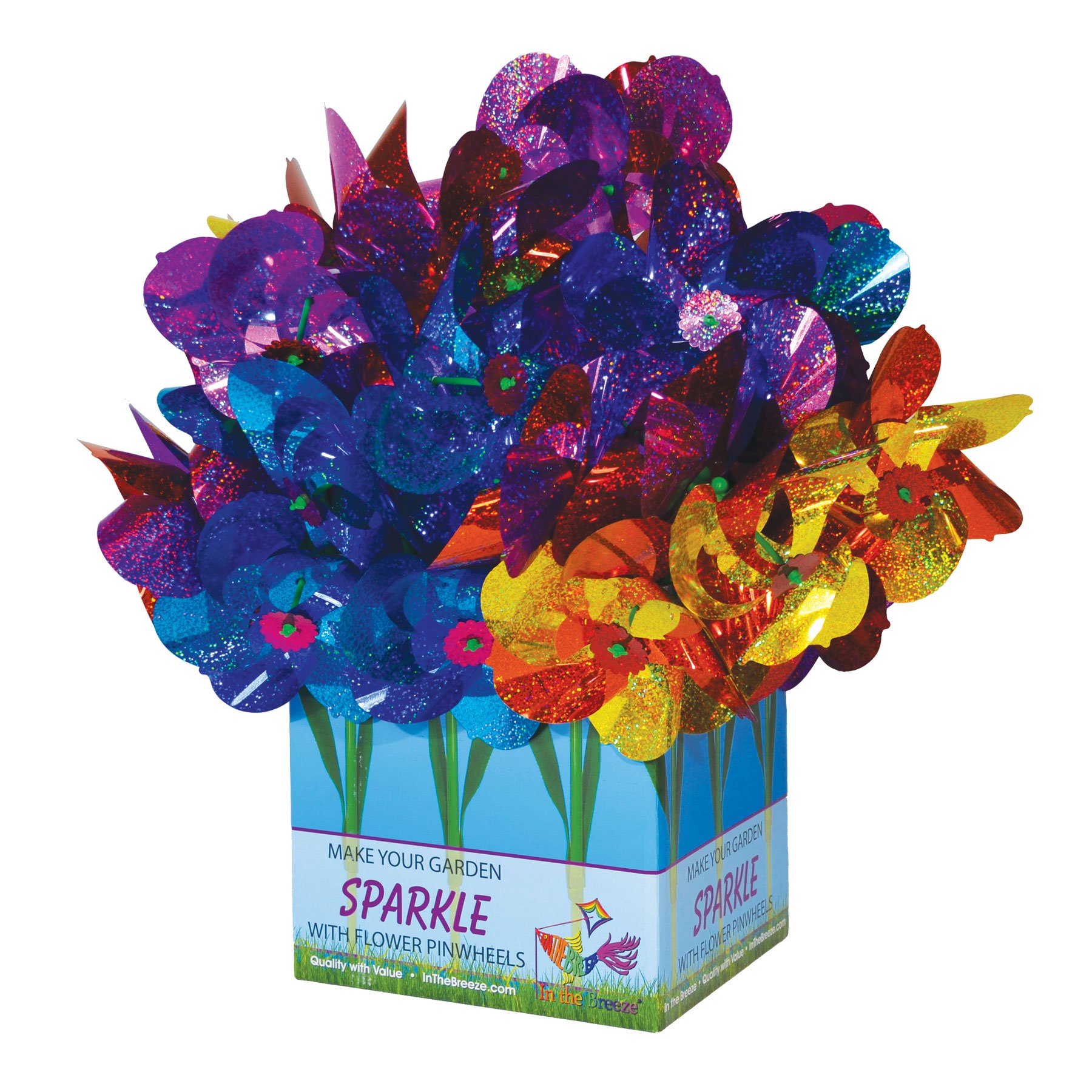 In the Breeze Mylar Rainbow Flower Pinwheel with Leaves - Assorted 2 Tone Color Spinners - 48 Pieces