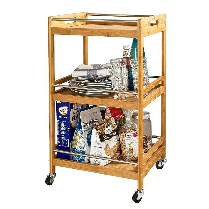 SoBuy carrito de cocina, Estantería de cocina, estantería de baño de bambú con ruedas FKW15-N: Amazon.es: Hogar