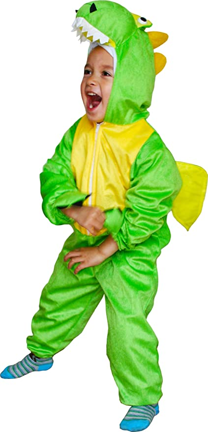 Fun Play Dinosaur Costume for Kids -Fancy Dress Animal Onesie for Boys and Girls - Children Cosplay Dress UpCostumes for Large 5-7 Years (122 cm)