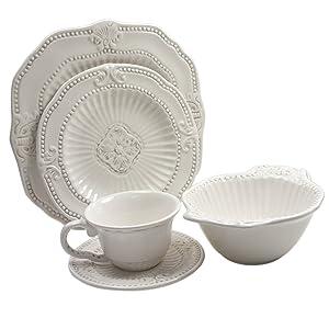 American Atelier 5286-20 20-Piece Baroque Dinnerware Set, White
