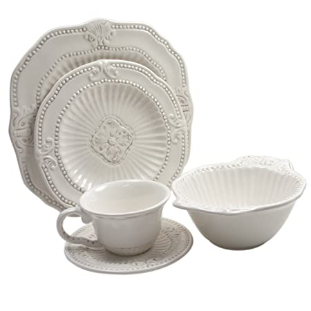 Christmas Tablescape Décor - Baroque white earthenware 20-piece dinnerware set by The Jay Companies