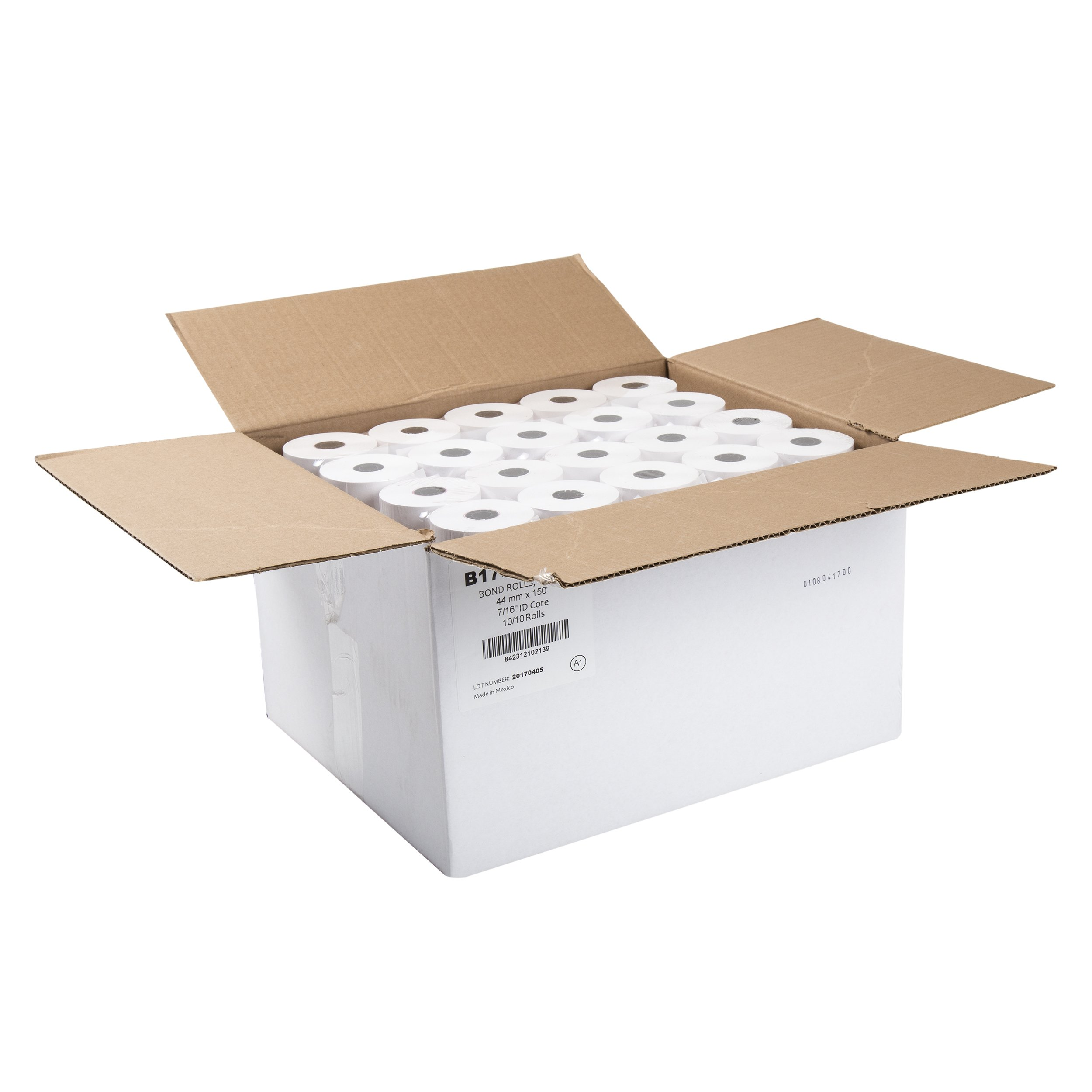AmerCare 44mm x 150' White Bond Register Rolls with 7/16'' ID Core, 1 Ply, Case of 100