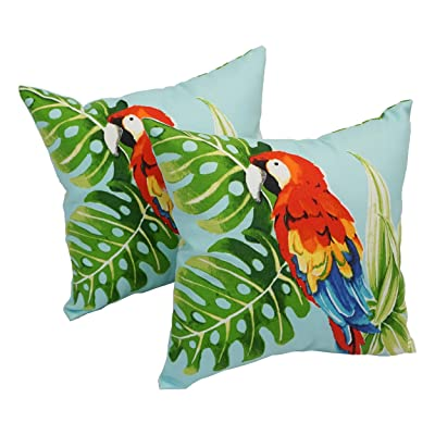 Blazing Needles Spun Polyester 17-inch Outdoor Throw Pillows (Set of 2) Parrot Palm: Kitchen & Dining