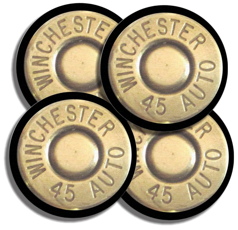 ウィンチェスター45 ACP Caliber Bulletネオプレンコースターのセット4弾薬ガン   B00SNC21XQ