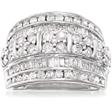 Ross-Simons 2.00 ct. t.w. Baguette and Round Diamond Multi-Row Ring in Sterling Silver For Women